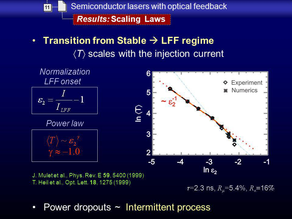 Transition from Stable LFF regime T scales with the injection current Results: Scaling Laws 11 Semiconductor lasers with optical feedback Power dropou