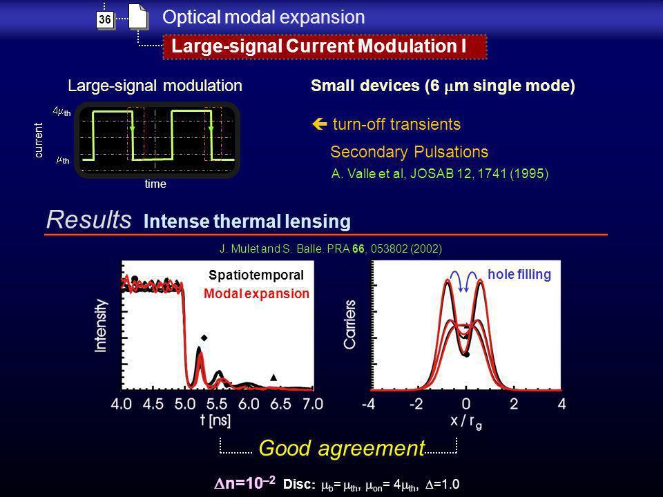 n=10 –2 Disc b = th, on = 4 th, =1.0 Spatiotemporal Modal expansion Results Intense thermal lensing 36 Optical modal expansion Large-signal Current Mo