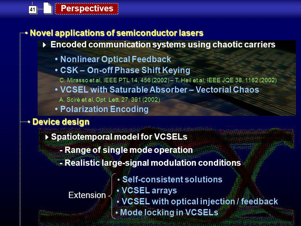 41 Perspectives Novel applications of semiconductor lasers Novel applications of semiconductor lasers Encoded communication systems using chaotic carr