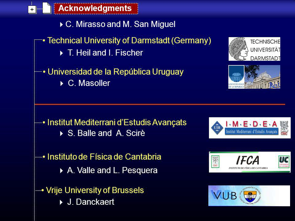 + + Acknowledgments Technical University of Darmstadt (Germany) T. Heil and I. Fischer Institut Mediterrani dEstudis Avançats S. Balle and A. Scirè In