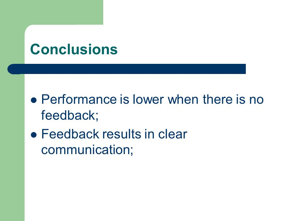 Conclusions Performance is lower when there is no feedback; Feedback results in clear communication;