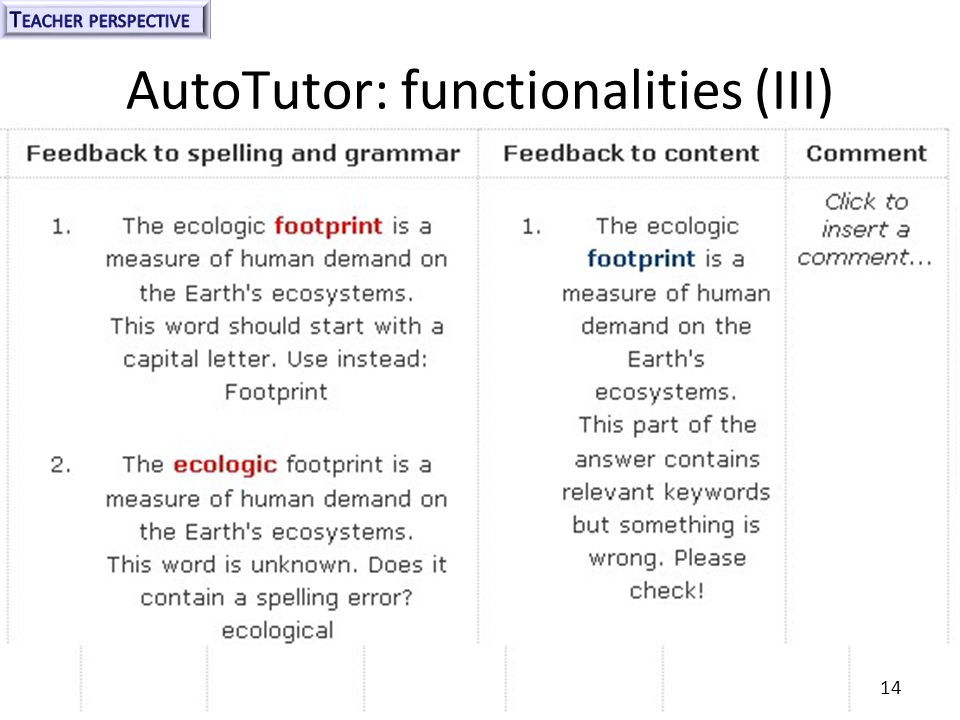 AutoTutor: functionalities (III) 14