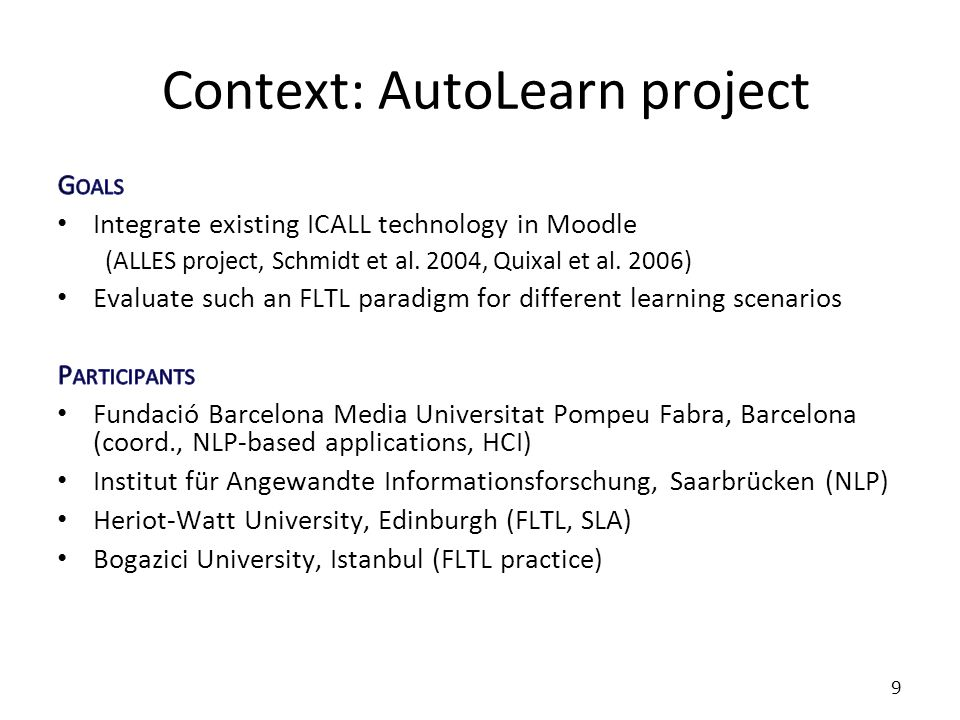 Context: AutoLearn project 9