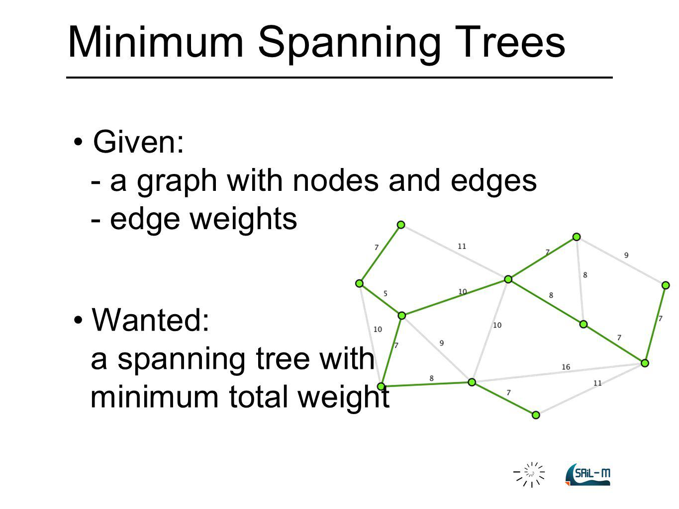Minimum Spanning Trees Wanted: a spanning tree with minimum total weight Given: - a graph with nodes and edges - edge weights
