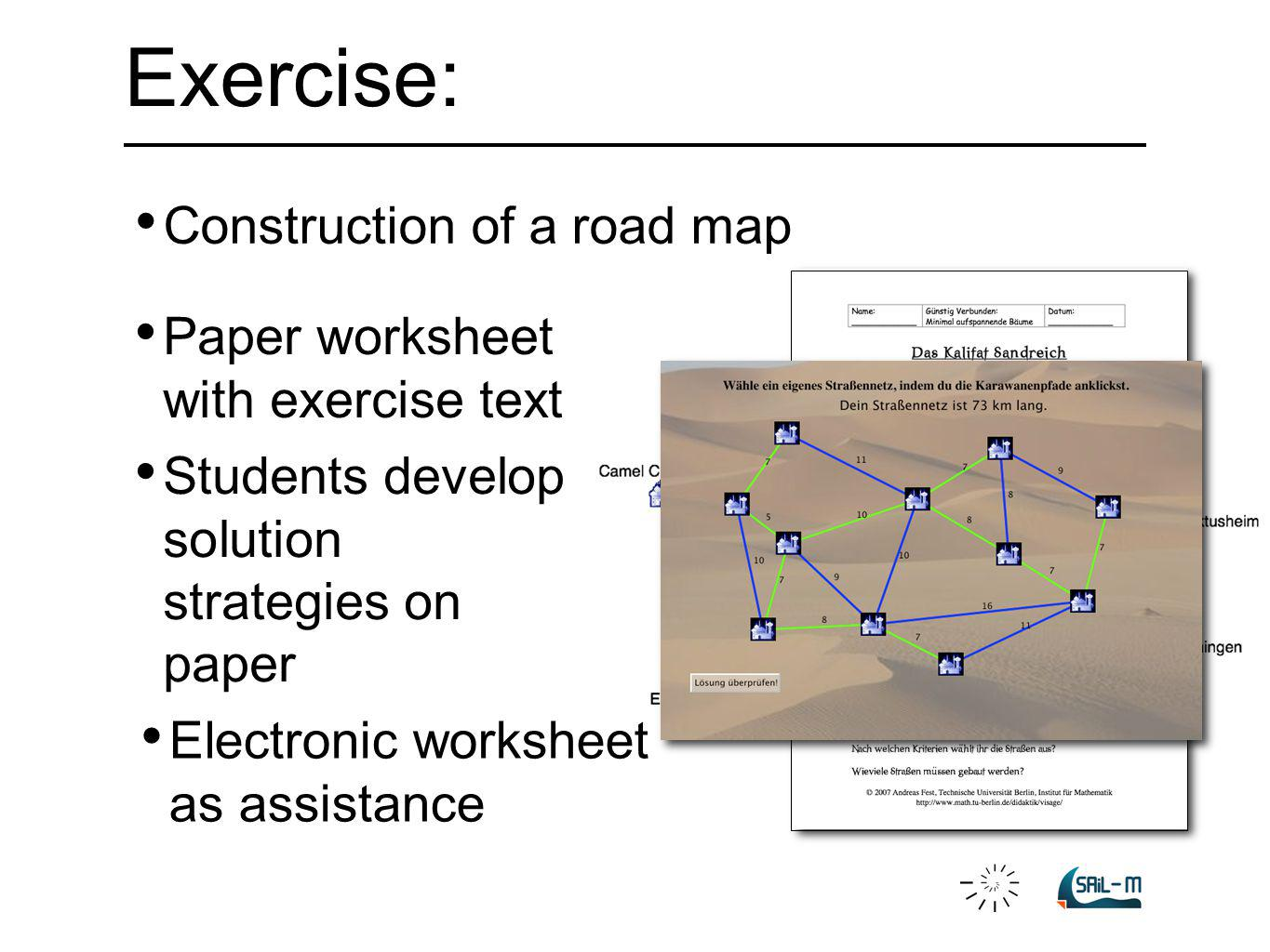 Construction of a road map Students develop solution strategies on paper Paper worksheet with exercise text Exercise: Electronic worksheet as assistan