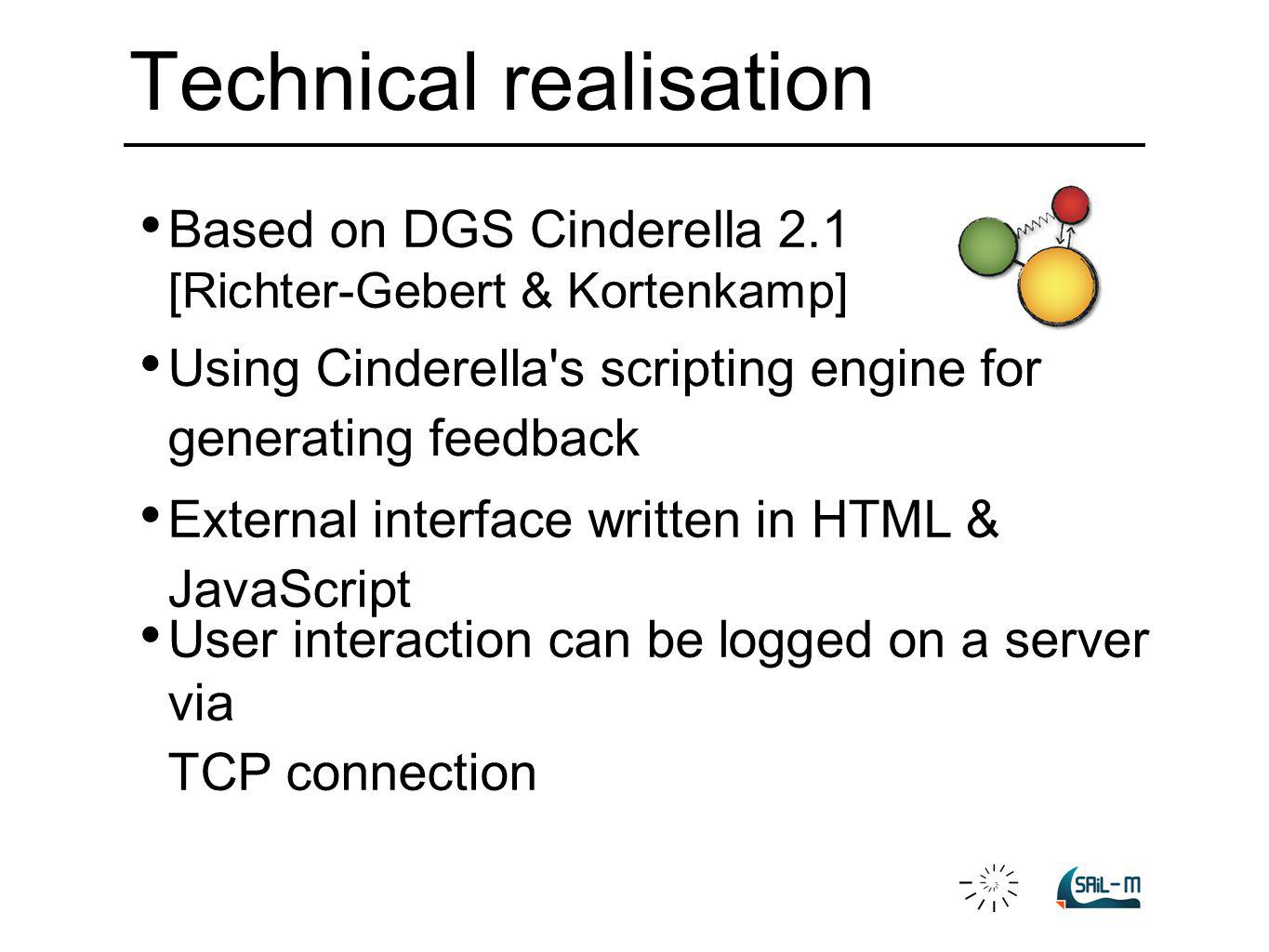 Based on DGS Cinderella 2.1 [Richter-Gebert & Kortenkamp] External interface written in HTML & JavaScript Using Cinderella's scripting engine for gene