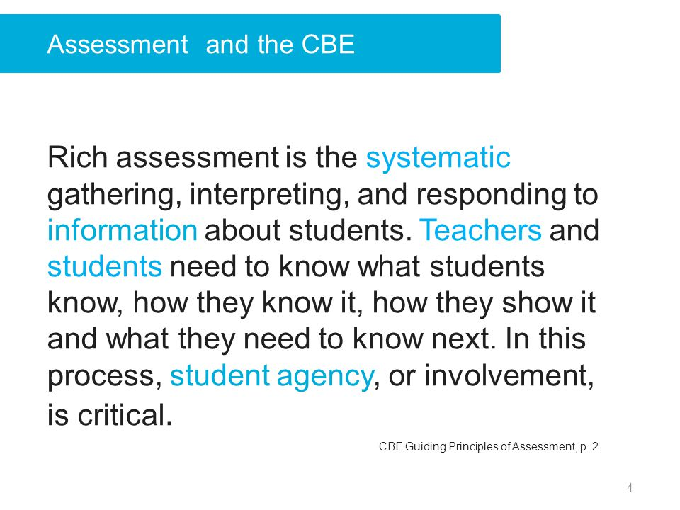 Rich assessment is the systematic gathering, interpreting, and responding to information about students. Teachers and students need to know what stude