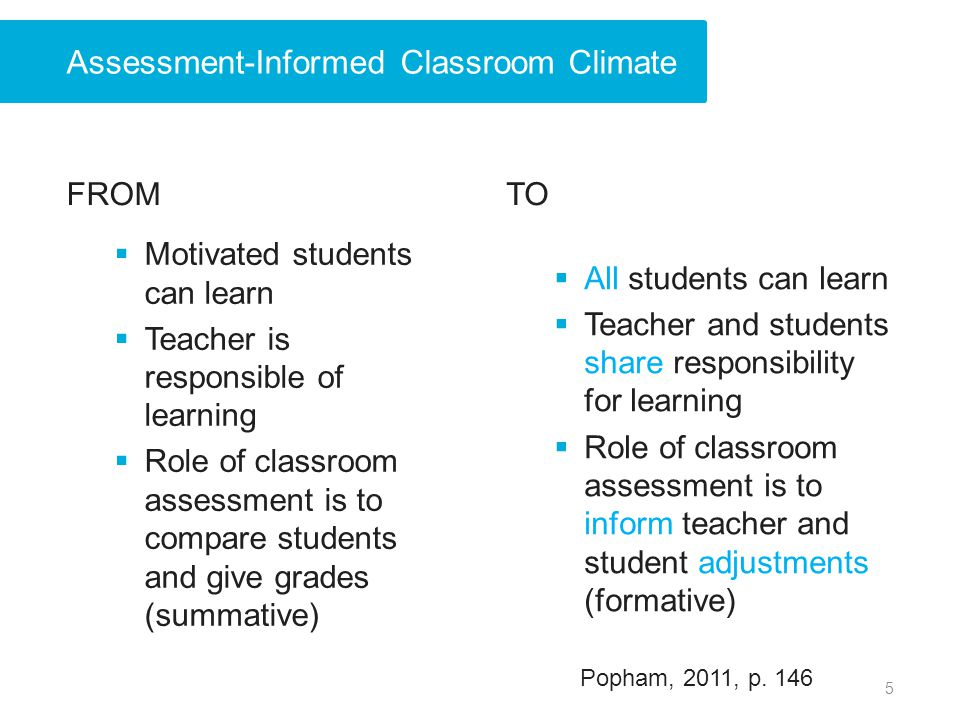 FROM Motivated students can learn Teacher is responsible of learning Role of classroom assessment is to compare students and give grades (summative) T
