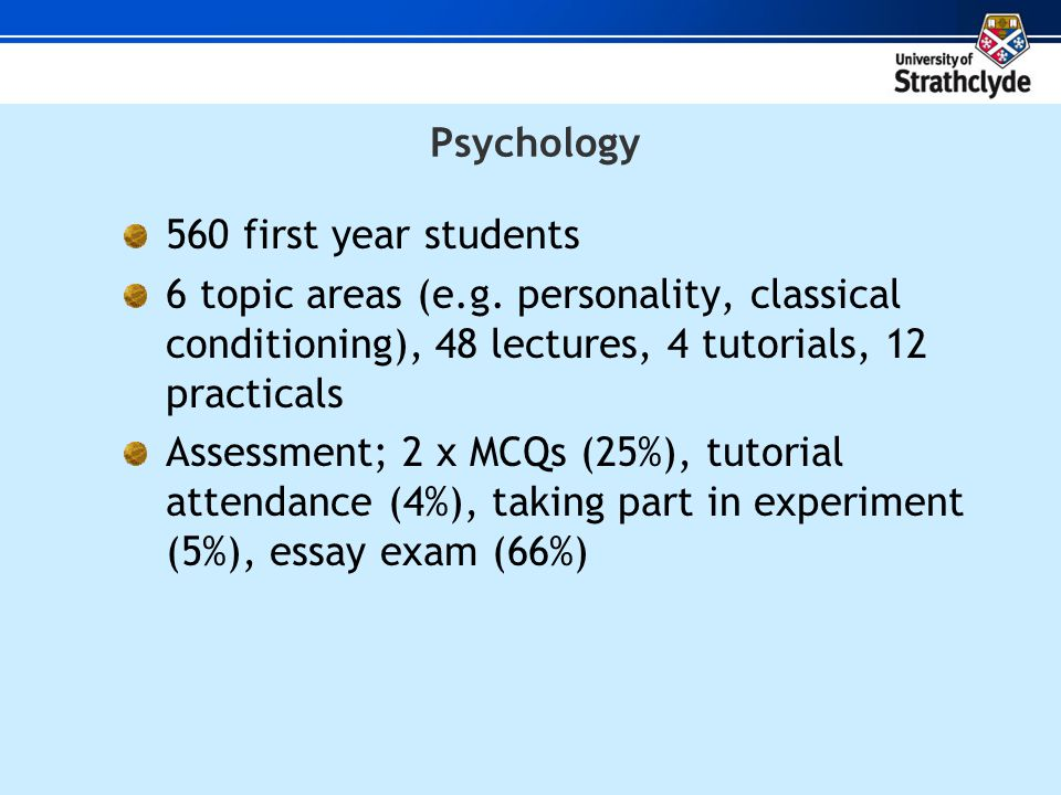560 first year students 6 topic areas (e.g.