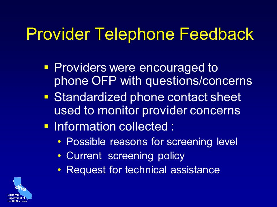 Provider Telephone Feedback Providers were encouraged to phone OFP with questions/concerns Standardized phone contact sheet used to monitor provider c