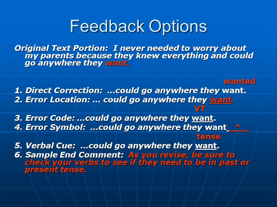 Feedback Options Original Text Portion: I never needed to worry about my parents because they knew everything and could go anywhere they want. wanted