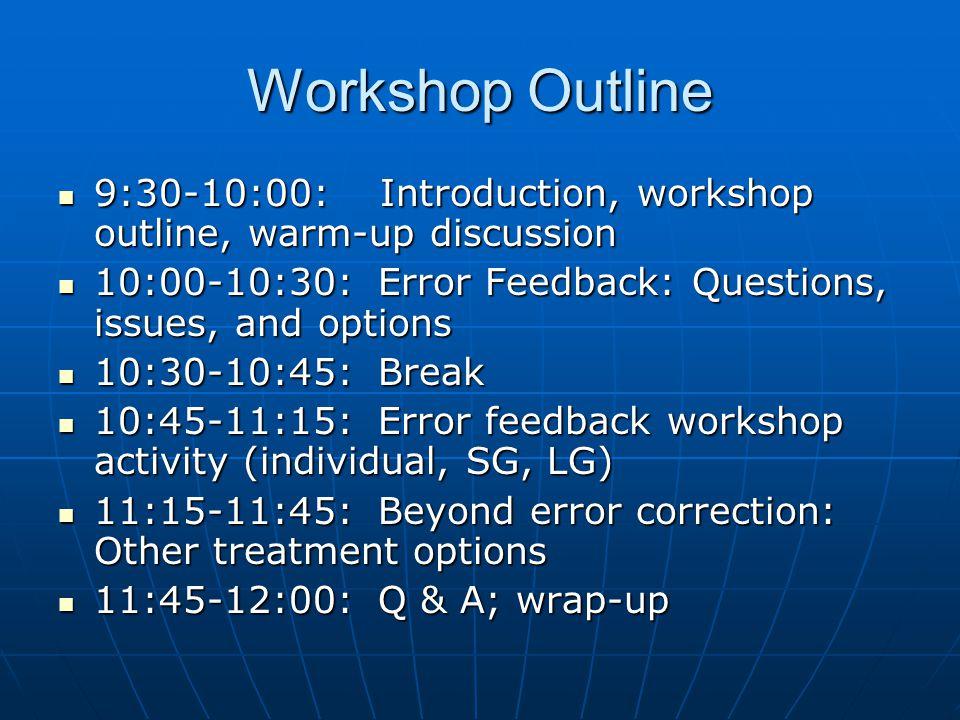 Workshop Outline 9:30-10:00: Introduction, workshop outline, warm-up discussion 9:30-10:00: Introduction, workshop outline, warm-up discussion 10:00-1