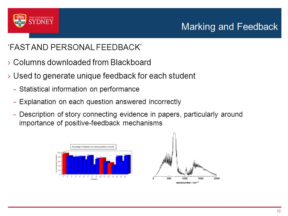 Marking and Feedback Columns downloaded from Blackboard Used to generate unique feedback for each student -Statistical information on performance -Explanation on each question answered incorrectly -Description of story connecting evidence in papers, particularly around importance of positive-feedback mechanisms 13 FAST AND PERSONAL FEEDBACK