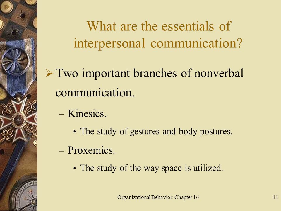 Organizational Behavior: Chapter 1611 What are the essentials of interpersonal communication? Two important branches of nonverbal communication. – Kin