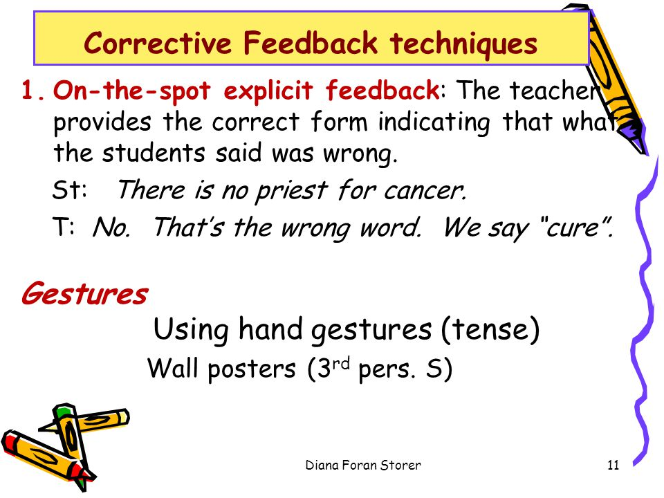 1.On-the-spot explicit feedback: The teacher provides the correct form indicating that what the students said was wrong.
