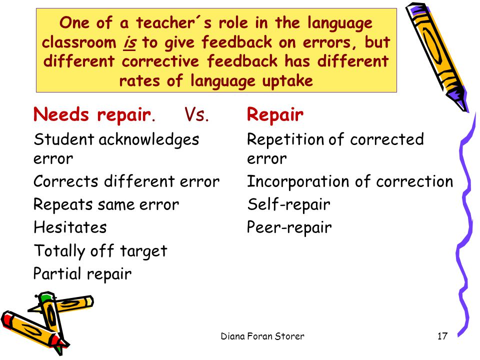 One of a teacher´s role in the language classroom is to give feedback on errors, but different corrective feedback has different rates of language upt