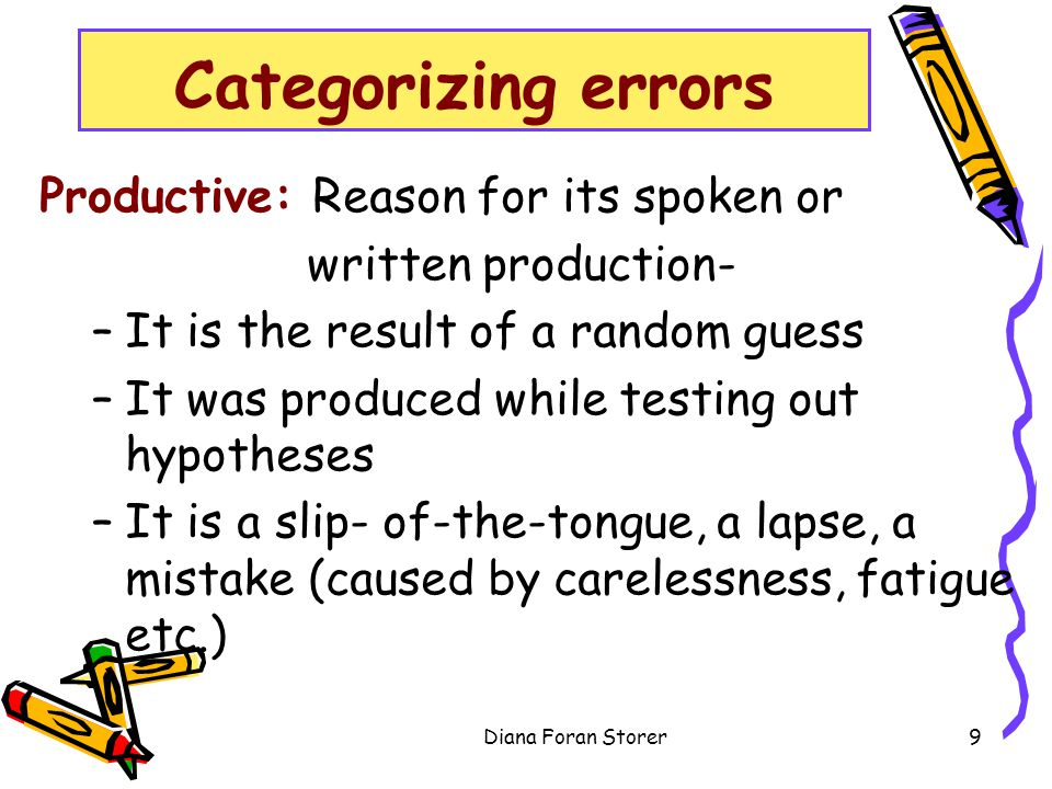 Categorizing errors Productive: Reason for its spoken or written production- –It is the result of a random guess –It was produced while testing out hy