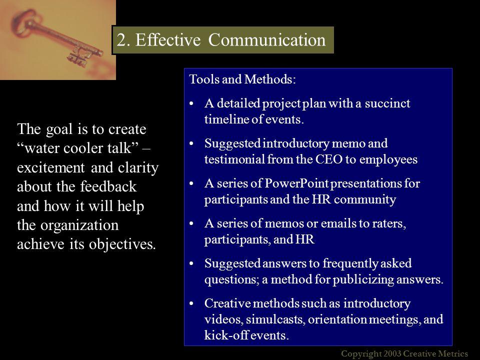 Copyright 2003 Creative Metrics About Creative Metrics