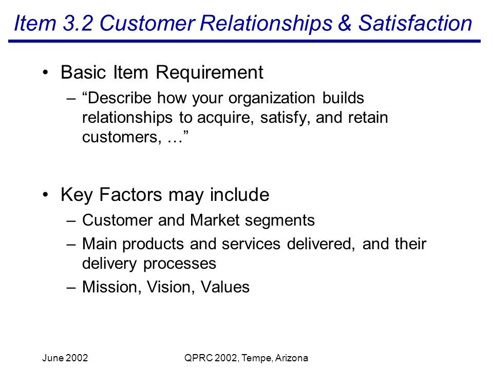 June 2002QPRC 2002, Tempe, Arizona Item 3.2 Customer Relationships & Satisfaction Basic Item Requirement –Describe how your organization builds relationships to acquire, satisfy, and retain customers, … Key Factors may include –Customer and Market segments –Main products and services delivered, and their delivery processes –Mission, Vision, Values