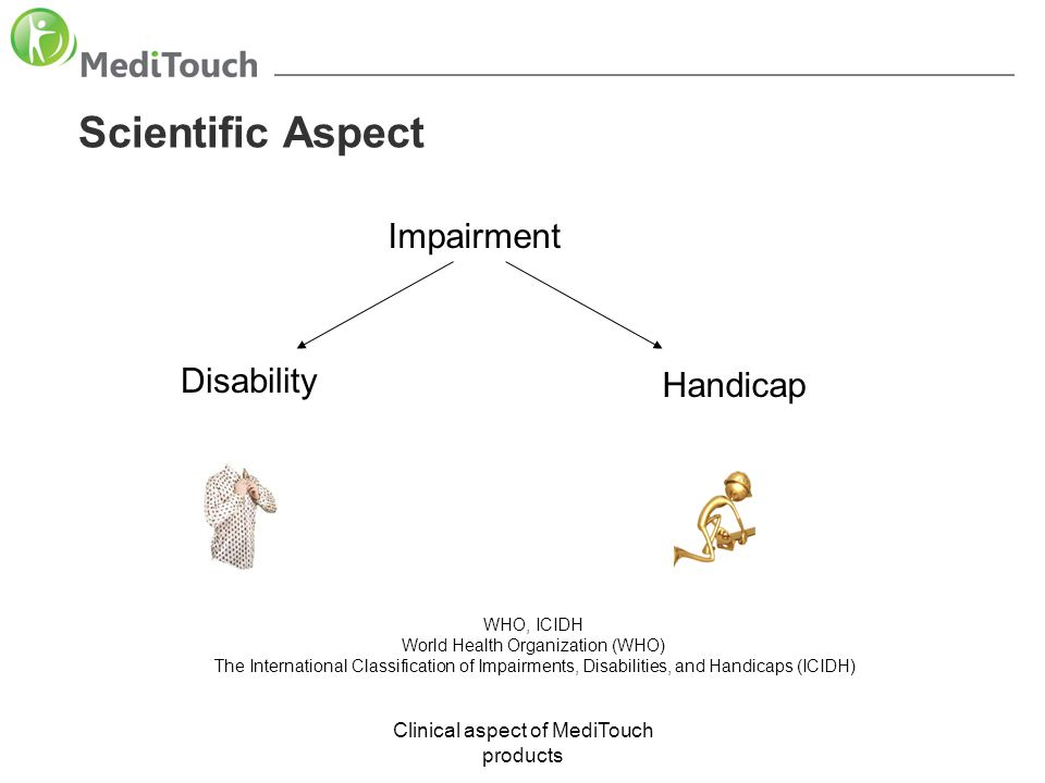 Clinical aspect of MediTouch products Scientific Aspect WHO, ICIDH World Health Organization (WHO) The International Classification of Impairments, Di