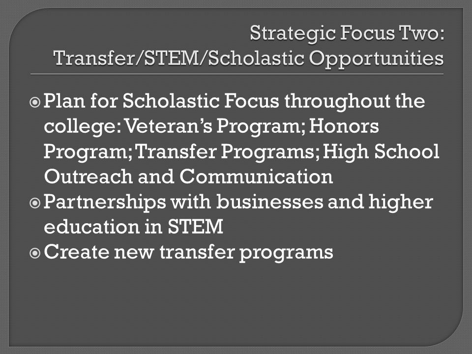 Plan for Scholastic Focus throughout the college: Veterans Program; Honors Program; Transfer Programs; High School Outreach and Communication Partners