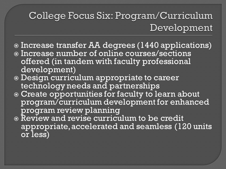 Increase transfer AA degrees (1440 applications) Increase number of online courses/sections offered (in tandem with faculty professional development)