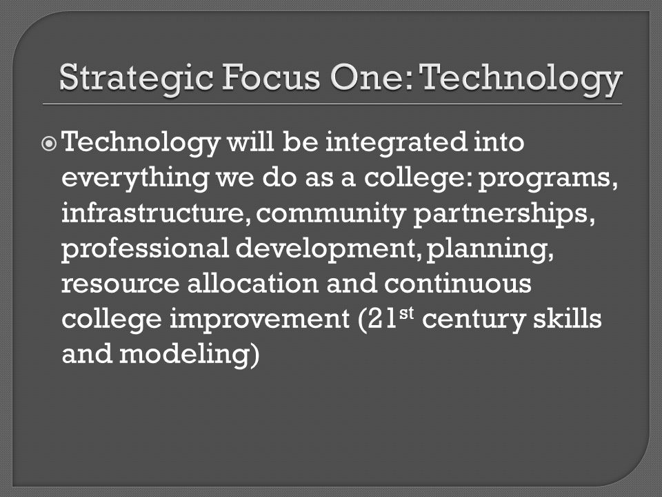 Technology will be integrated into everything we do as a college: programs, infrastructure, community partnerships, professional development, planning