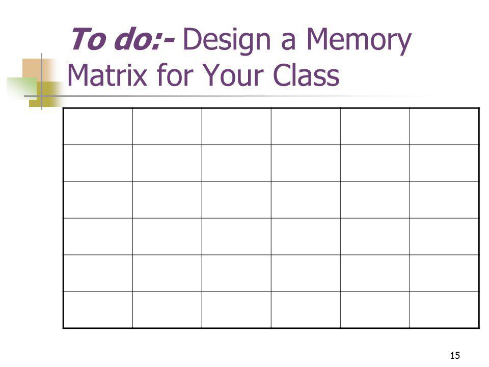 15 To do:- Design a Memory Matrix for Your Class