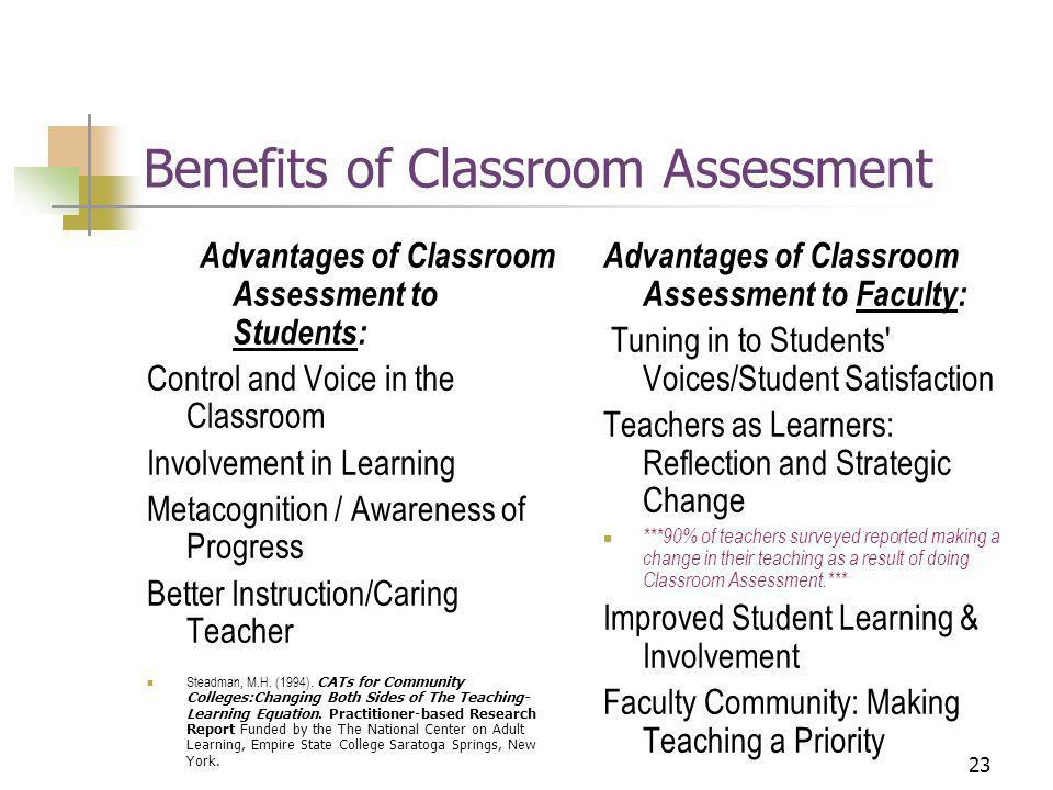 23 Benefits of Classroom Assessment Advantages of Classroom Assessment to Students: Control and Voice in the Classroom Involvement in Learning Metacognition / Awareness of Progress Better Instruction/Caring Teacher Steadman, M.H.