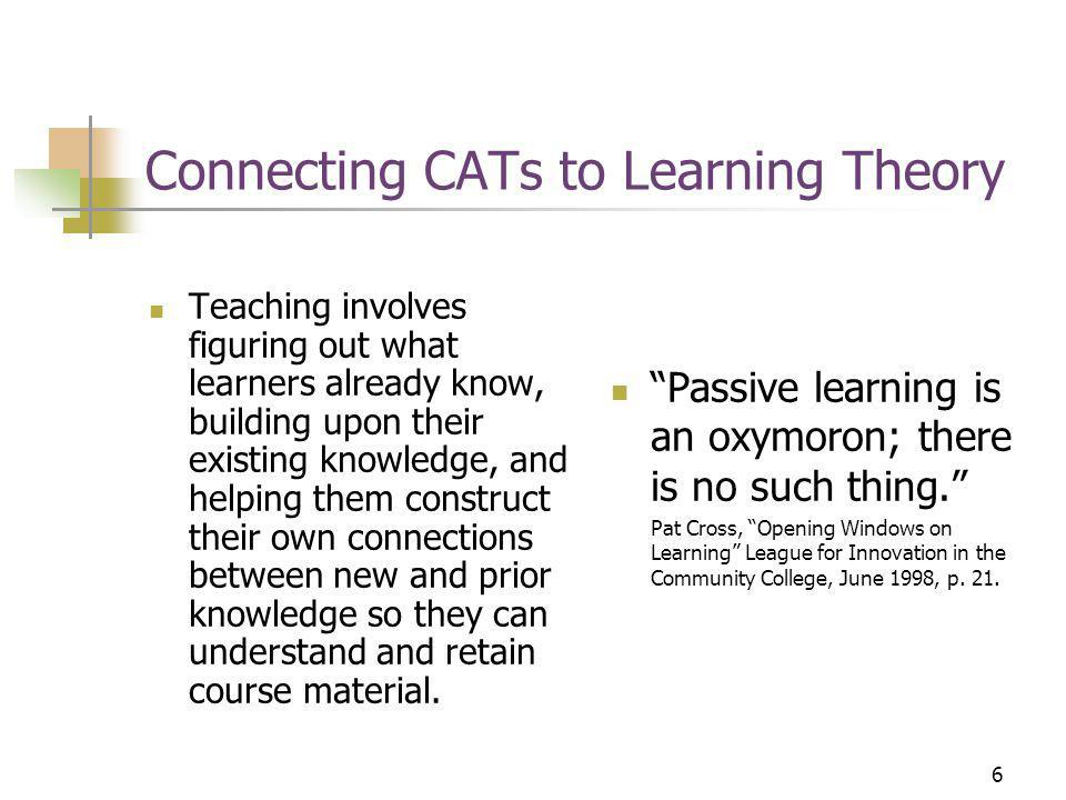 6 Connecting CATs to Learning Theory Teaching involves figuring out what learners already know, building upon their existing knowledge, and helping them construct their own connections between new and prior knowledge so they can understand and retain course material.