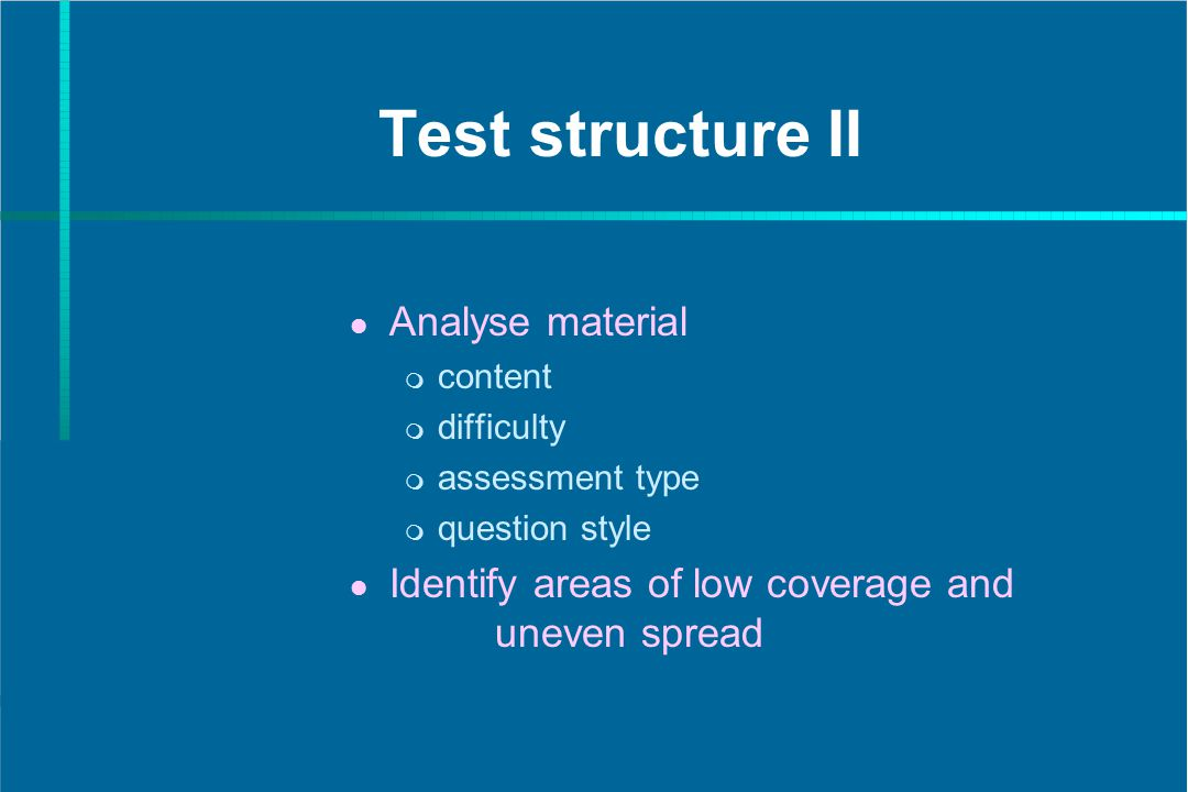 Test structure II Analyse material content difficulty assessment type question style Identify areas of low coverage and uneven spread
