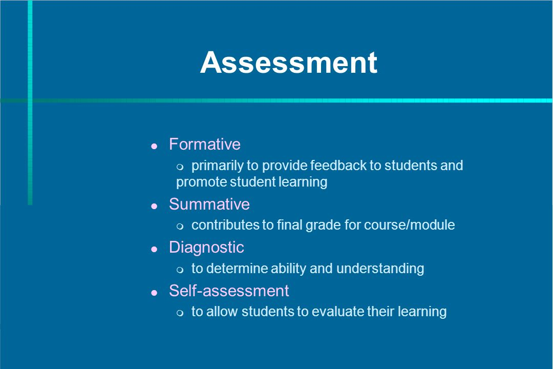 Assessment Formative primarily to provide feedback to students and promote student learning Summative contributes to final grade for course/module Diagnostic to determine ability and understanding Self-assessment to allow students to evaluate their learning