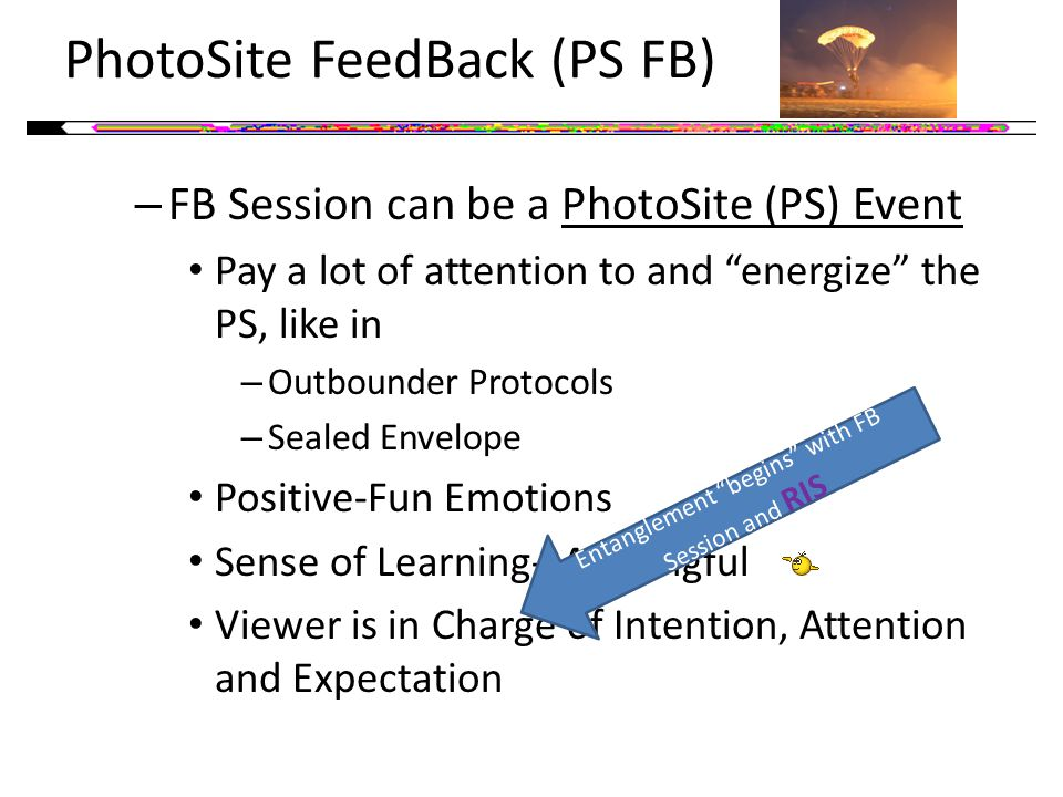 PhotoSite FeedBack (PS FB) – FB Session can be a PhotoSite (PS) Event Pay a lot of attention to and energize the PS, like in – Outbounder Protocols – Sealed Envelope Positive-Fun Emotions Sense of Learning-Meaningful Viewer is in Charge of Intention, Attention and Expectation Entanglement begins with FB Session and RIS