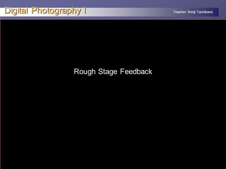 Teacher: Kenji Tachibana Digital Photography I x Rough Stage Feedback