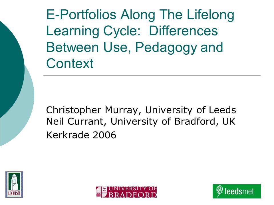 E-Portfolios Along The Lifelong Learning Cycle: Differences Between Use, Pedagogy and Context Christopher Murray, University of Leeds Neil Currant, University of Bradford, UK Kerkrade 2006