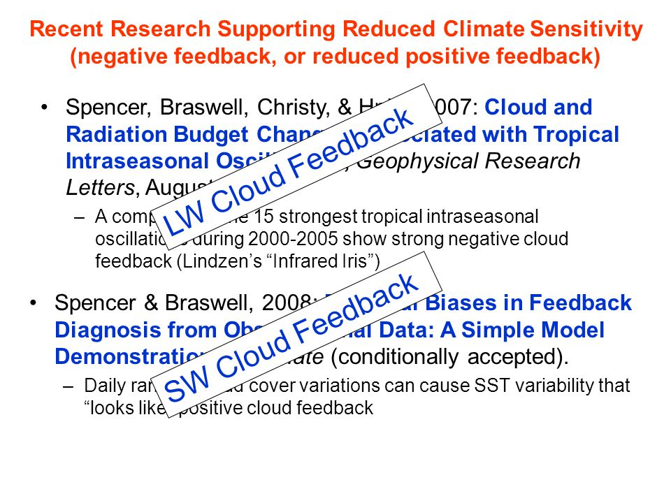 Spencer, Braswell, Christy, & Hnilo, 2007: Cloud and Radiation Budget Changes Associated with Tropical Intraseasonal Oscillations, Geophysical Researc