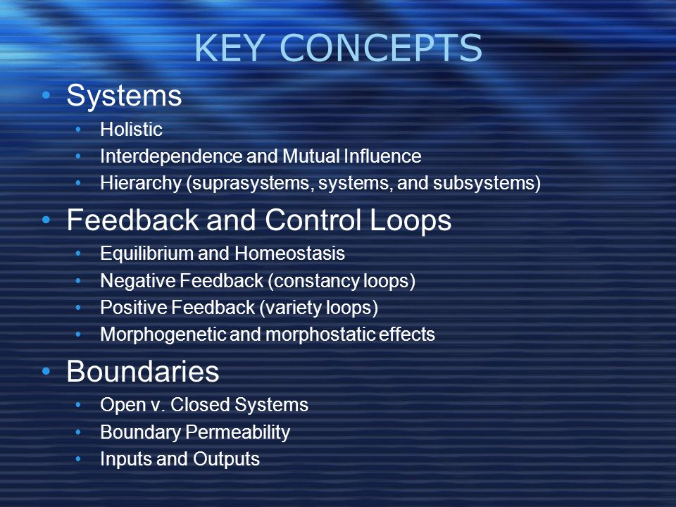 KEY CONCEPTS Systems Holistic Interdependence and Mutual Influence Hierarchy (suprasystems, systems, and subsystems) Feedback and Control Loops Equilibrium and Homeostasis Negative Feedback (constancy loops) Positive Feedback (variety loops) Morphogenetic and morphostatic effects Boundaries Open v.