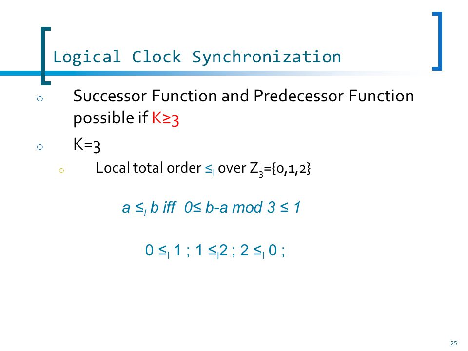 Logical Clock Synchronization 25 o Successor Function and Predecessor Function possible if K3 o K=3 o Local total order l over Z 3 ={0,1,2} a l b iff 0 b-a mod 3 1 0 l 1 ; 1 l 2 ; 2 l 0 ;