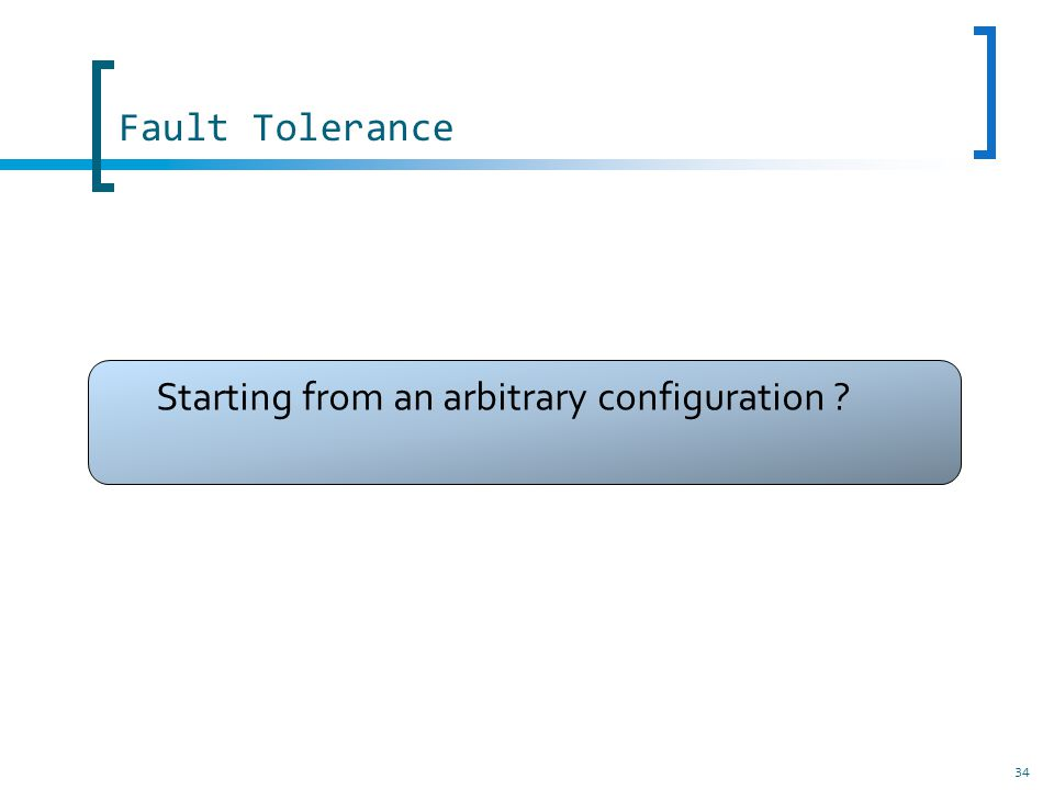 34 Fault Tolerance Starting from an arbitrary configuration