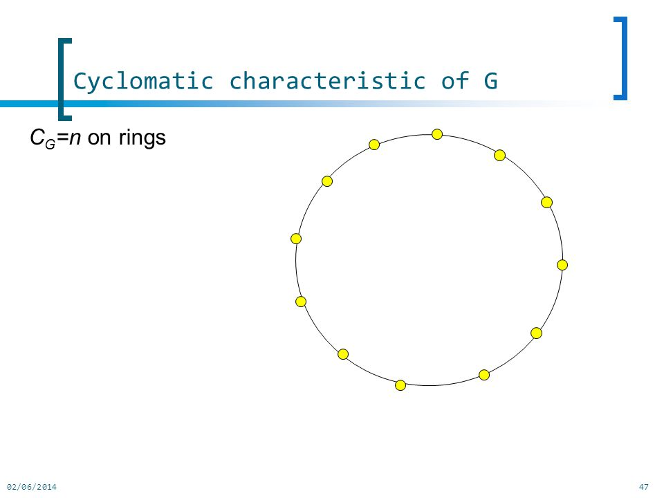 02/06/201447 C G =n on rings Cyclomatic characteristic of G