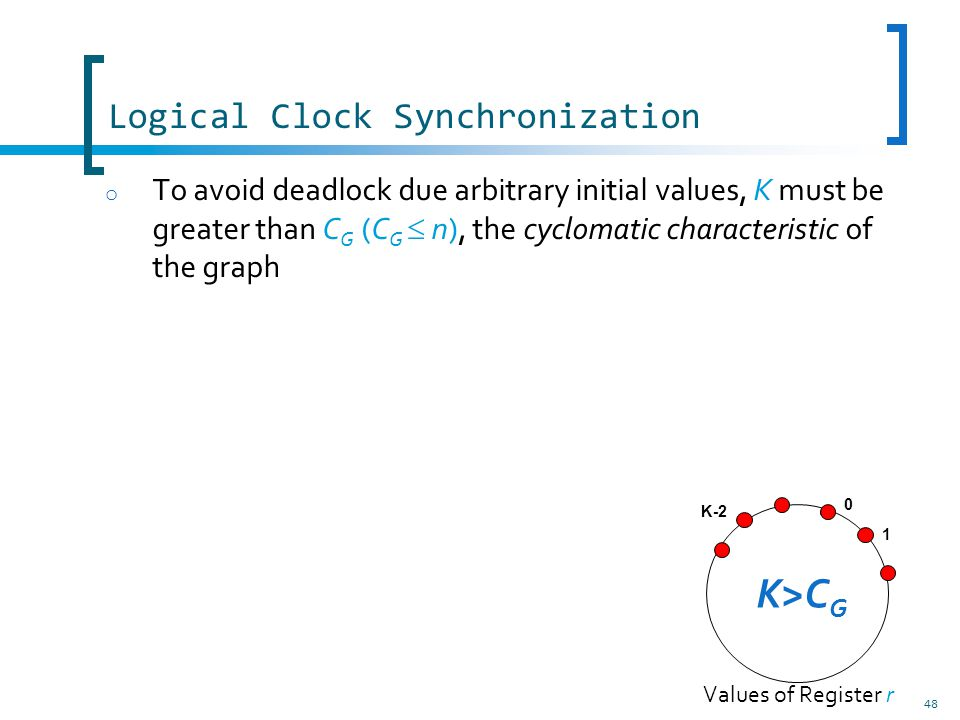 48 Logical Clock Synchronization o To avoid deadlock due arbitrary initial values, K must be greater than C G (C G n), the cyclomatic characteristic of the graph 1 0 K-2 K>C G Values of Register r
