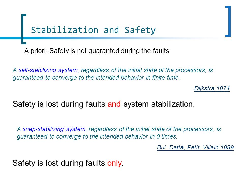 Stabilization and Safety A self-stabilizing system, regardless of the initial state of the processors, is guaranteed to converge to the intended behavior in finite time.