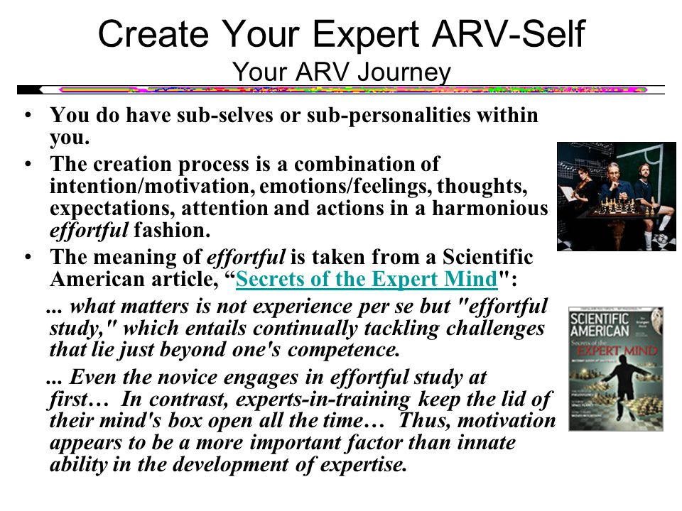 Create Your Expert ARV-Self Your ARV Journey You do have sub-selves or sub-personalities within you. The creation process is a combination of intentio