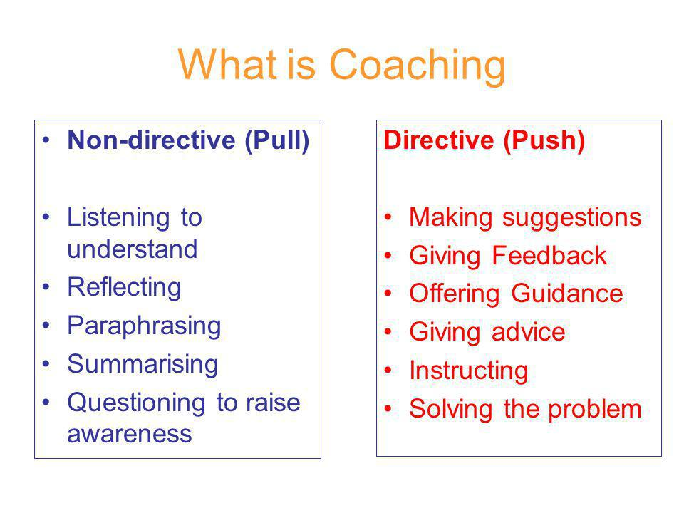 What is Coaching Non-directive (Pull) Listening to understand Reflecting Paraphrasing Summarising Questioning to raise awareness Directive (Push) Making suggestions Giving Feedback Offering Guidance Giving advice Instructing Solving the problem