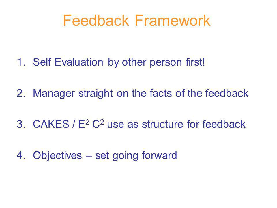 Feedback Framework 1.Self Evaluation by other person first! 2.Manager straight on the facts of the feedback 3.CAKES / E 2 C 2 use as structure for fee