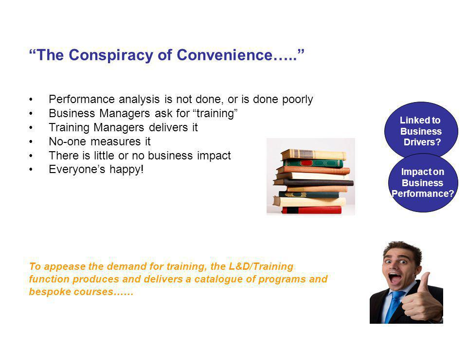 The Conspiracy of Convenience….. Performance analysis is not done, or is done poorly Business Managers ask for training Training Managers delivers it