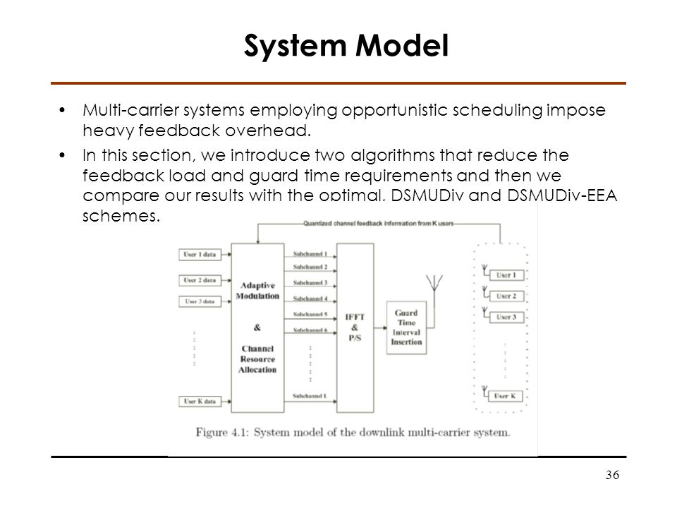 36 System Model Multi-carrier systems employing opportunistic scheduling impose heavy feedback overhead.