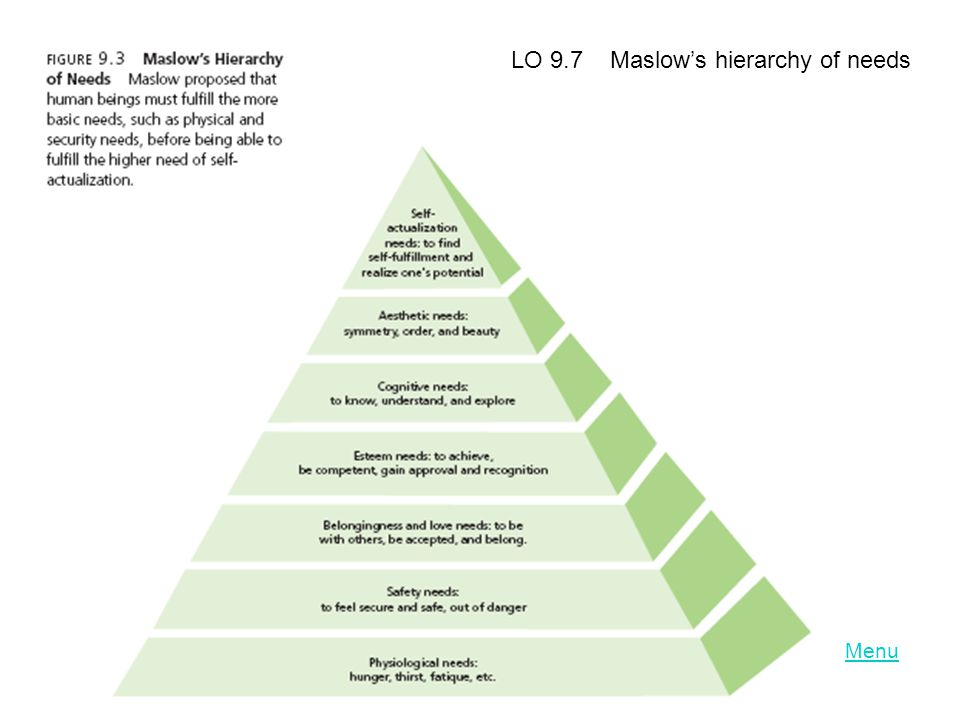 LO 9.7 Maslows hierarchy of needs
