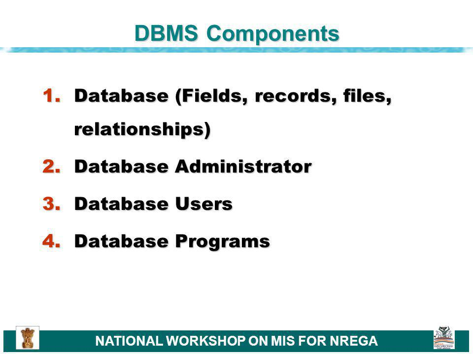 NATIONAL WORKSHOP ON MIS FOR NREGA DBMS Components 1.Database (Fields, records, files, relationships) 2.Database Administrator 3.Database Users 4.Database Programs