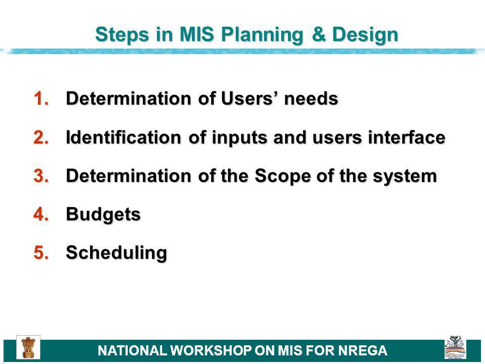 NATIONAL WORKSHOP ON MIS FOR NREGA Phases of MIS Design & Development 1.Study and Analysis Phase 2.Design Phase 3.Implementation Phase